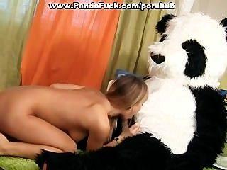 Fiesta del juguete del sexo con un oso de panda córneo