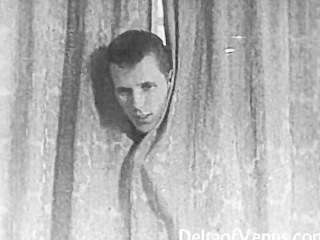 Auténtica cosecha 1950 porno afeitado, voyeur fuck