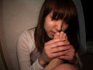 Japan girl self foot worship