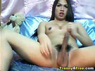 Busty y big cock tranny cumming