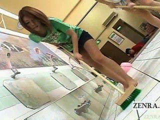 Subtitulado japonés av star duo limpia bathhouse desnudo