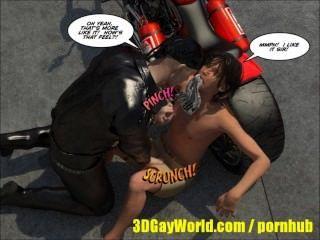 Agradable de la historia gay de los tebeos del animado de la historieta masculina del motorista 3d del biker gay o gay hentai bdsm