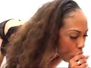 Ebony babe lacey duvalle chupa una polla blanca