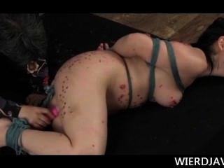 Gran titted japonés vinculados sexo esclavo torturado con cera caliente