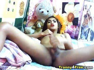Tranny asiática tirando de su gran polla