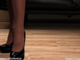 Señora anique negro tacones altos zapato pasos