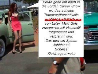 Latex maid luder en el müllpresswagen rein du scheiss transvestitenschwein