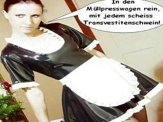 Látex maid natalie será scheiss transvestitenschweine im müllpresswagen ...