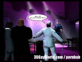 Orgía pública loca en el club gay 3D cómics gay o historia de dibujos animados de anime