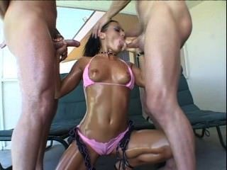 Sandra romain double bloujob, deepthroat, semen en la boca