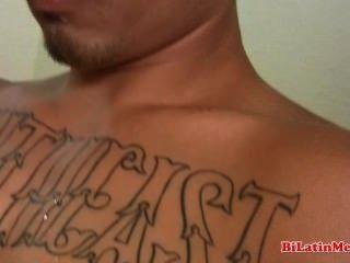 Tatted latino big uncut cock