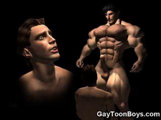 ¡Gatito musculoso grande de los gays 3d gays!