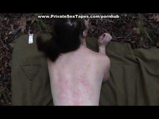 Jodido y semen disparó a su novia en el bosque