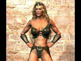 3d lucha contra la lucha libre amazona lucha con hombres y criaturas