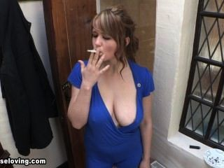 Louise smoking blue downblouse 2