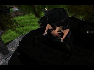 Doble penetración hombre lobo sobre una pobre chica
