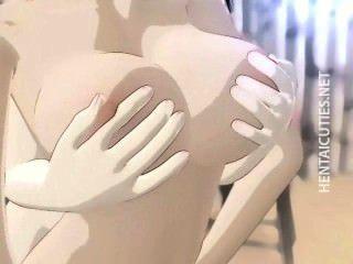 Busty hentai lesbolesbiandykes frotar los coños