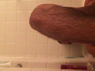 Músculo, niño, atractivo, pies, tina