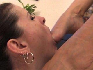 Lesbiana, esclavo, pie, adoración, 2