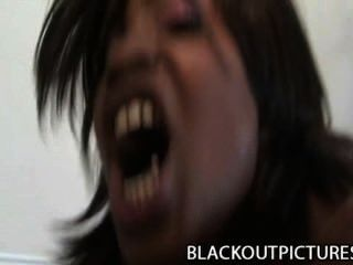 Caramel twist ruidosa perra negra perforada por grasa gallo negro