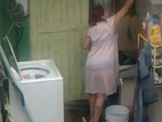 Espiando, tía, culo, lavando, grande, culo, chubby, plumper, mamá