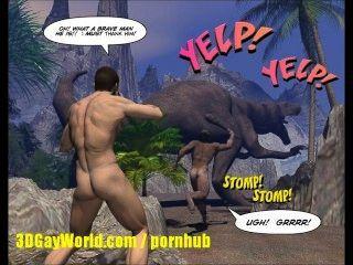 Gallo cretáceo 3d alegre historia cómica sobre el científico joven follada por el hombre de las cavernas!