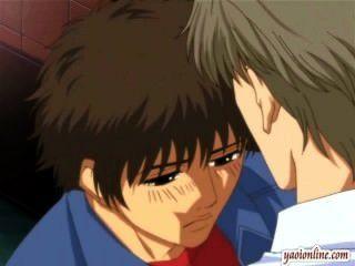 Hentai pareja gay tener un beso suave