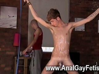 Increíble escena gay twink hombre jacob daniels es su reciente comida, atado