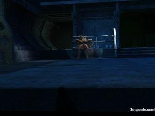 Joker folla un titty grande, apretado coño adolescente de la universidad y el culo en su escondite.