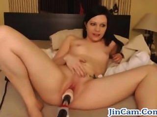 Mierda camgirl en vivo con la máquina de sexo hot show