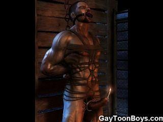 ¡Los gays del músculo 3D cogen a muchachos rectos!